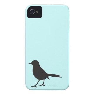 Caja azul del negro de la silueta del pájaro del carcasa para iPhone 4 de Case-Mate