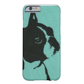 Caja azul del teléfono de Boston Terrier Funda De iPhone 6 Barely There
