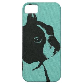 Caja azul del teléfono de Boston Terrier iPhone 5 Carcasas