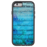 Caja azul del teléfono de la acuarela de la música funda de iPhone 6 tough xtreme