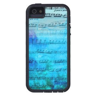 Caja azul del teléfono de la acuarela de la música funda para iPhone 5 tough xtreme