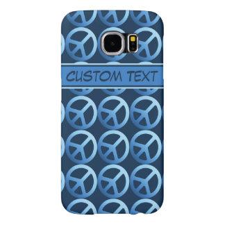 Caja azul del teléfono del signo de la paz con el funda samsung galaxy s6