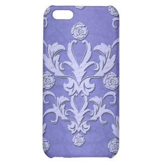 Caja azul femenina del iPhone del damasco