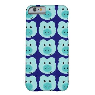 Caja azul linda del iPhone 6 del modelo del cerdo Funda Barely There iPhone 6