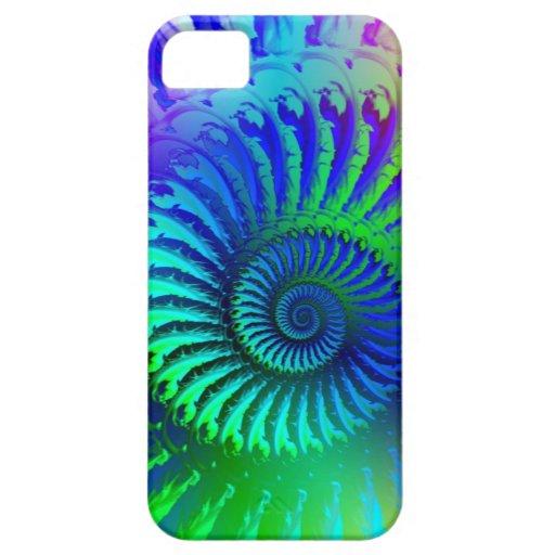 Caja azul loca del iPhone 5 del modelo del fractal iPhone 5 Case-Mate Funda