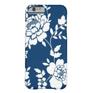 Caja azul marino y blanca del iPhone 6 del diseño Funda Barely There iPhone 6