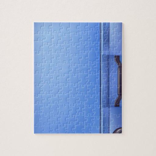 Caja azul moderna de la carretilla rompecabezas con fotos