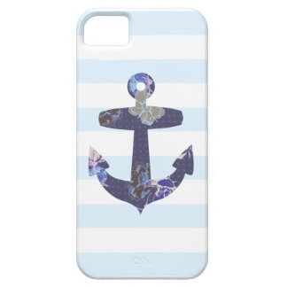 Caja azul náutica florida del iphone 5 del ancla iPhone 5 Case-Mate protectores