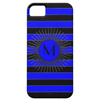 Caja azul negra del iPhone del monograma del respl iPhone 5 Coberturas