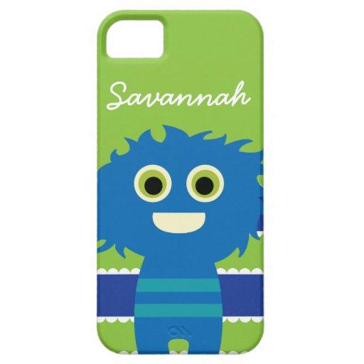Caja azul personalizada linda del monstruo de la v iPhone 5 Case-Mate fundas