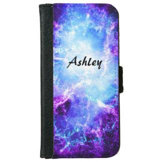 Caja azul púrpura de encargo de la cartera del carcasa de iPhone 6