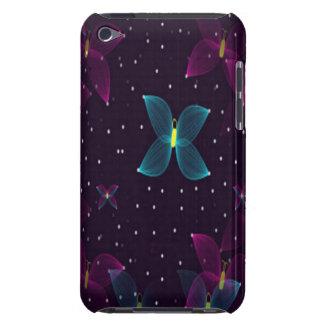 Caja azul púrpura de la mota de las mariposas de l barely there iPod protectores