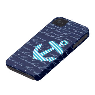 Caja azul rayada náutica del iphone 4 del ancla iPhone 4 Case-Mate funda