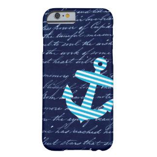 Caja azul rayada náutica del iPhone 6 del ancla Funda Para iPhone 6 Barely There