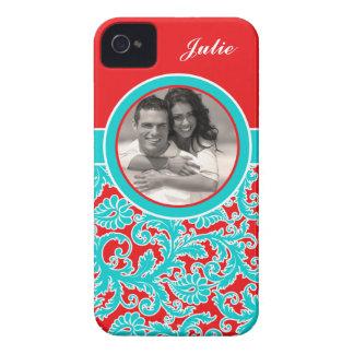 Caja azul, roja, blanca del iPhone 4 del damasco Case-Mate iPhone 4 Protectores