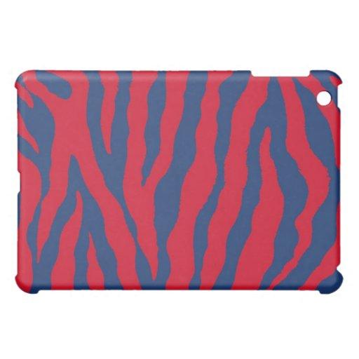 Caja azul/roja del iPad de la raya del tigre