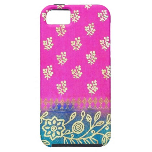 Caja azul rosada del iPhone 5 de la sari del oro iPhone 5 Case-Mate Coberturas