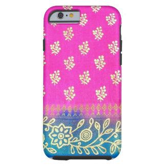 Caja azul rosada del iPhone 6 de la sari del oro Funda De iPhone 6 Tough