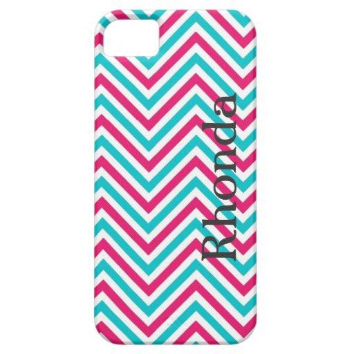 Caja azul, rosada y blanca del iPhone 5 de Chevron iPhone 5 Fundas