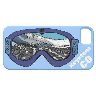 Caja azul trapezoidal del iphone 5 de las gafas de funda para iPhone 5 barely there
