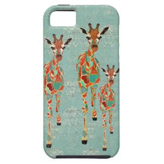 Caja azul y ambarina del iPhone de las jirafas iPhone 5 Carcasas