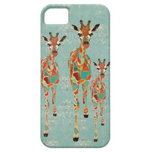Caja azul y ambarina del iPhone de las jirafas iPhone 5 Fundas