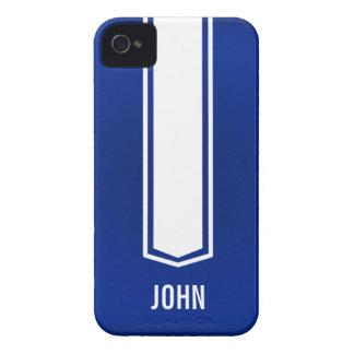 Caja azul y blanca de Iphone de la raya del coche Carcasa Para iPhone 4