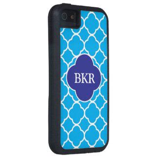 Caja azul y blanca de Quatrefoil del monograma del Funda Para iPhone 5 Tough Xtreme