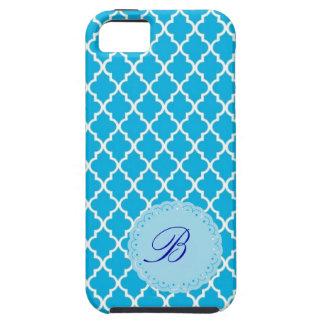 Caja azul y blanca del monograma de Quatrefoil del Funda Para iPhone 5 Tough