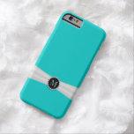 Caja azul y de marfil de Tiffany de la cinta del Funda De iPhone 6 Barely There