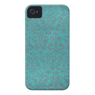 Caja azul y gris del iPhone 4/4S del damasco iPhone 4 Case-Mate Cárcasa