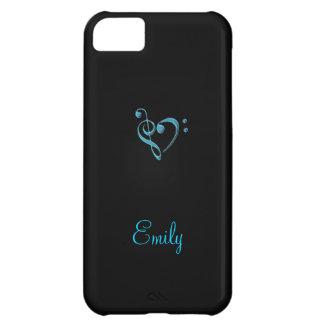 Caja azul y negra ciánica del iPhone 5 del corazón Carcasa Para iPhone 5C