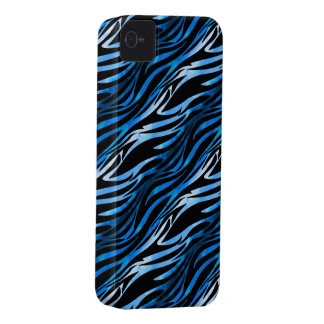 Caja azul y negra del iPhone 4 de la cebra Carcasa Para iPhone 4 De Case-Mate