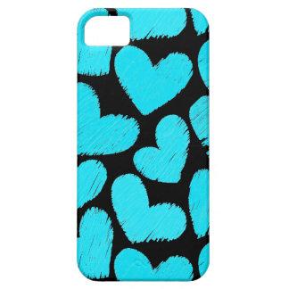 Caja azul y negra del iPhone 5 de los corazones iPhone 5 Case-Mate Carcasas