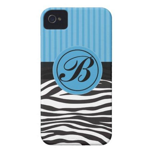 Caja azul y negra del iPhone del estampado de Case-Mate iPhone 4 Funda