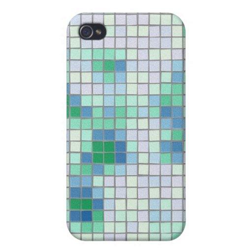 Caja azul y verde del iPhone 4 del mosaico iPhone 4 Funda