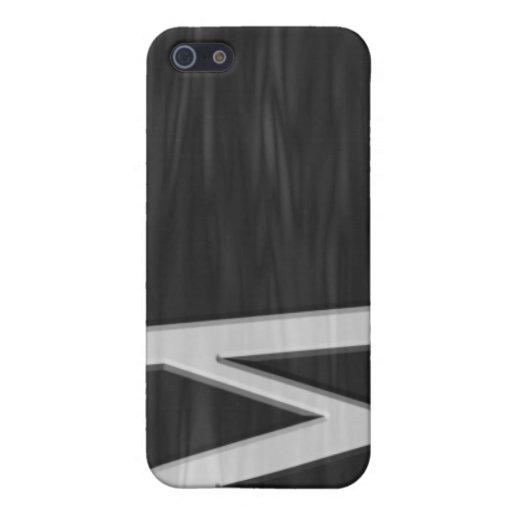 """Caja biselada blanco y negro de la mota de """"M"""" iPhone 5 Fundas"""