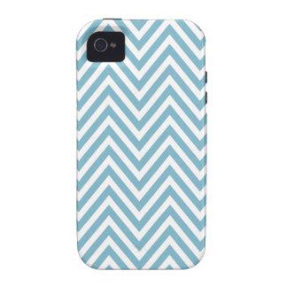 Caja blanca azul del iPhone 4 del zigzag de Chevro Vibe iPhone 4 Carcasas