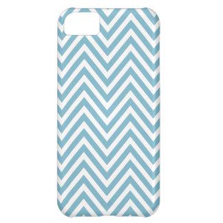 Caja blanca azul del iPhone 5 del zigzag de Chevro