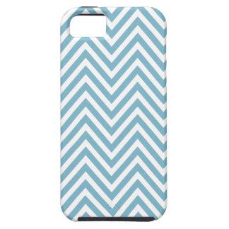 Caja blanca azul del iPhone 5 del zigzag de Chevro iPhone 5 Case-Mate Protectores