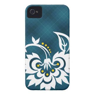 Caja blanca azul del iPhone del diseño floral de Funda Para iPhone 4