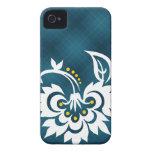 Caja blanca azul del iPhone del diseño floral de l iPhone 4 Funda