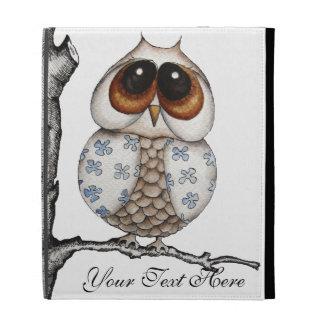 Caja blanca del iPad del búho floral