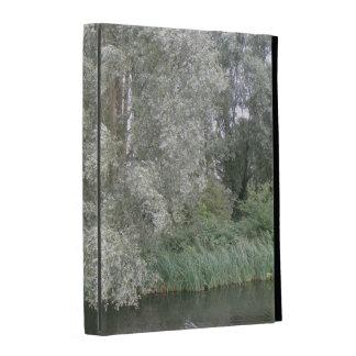 Caja blanca del iPad del paisaje del árbol y del r