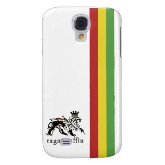 Caja blanca del iphone 3 de la raya de Rasta del R Funda Para Galaxy S4