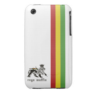 Caja blanca del iPhone 3G/3GS de la raya de Rasta iPhone 3 Protector