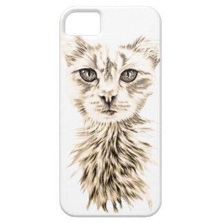 Caja blanca del iPhone del dibujo del gato iPhone 5 Fundas