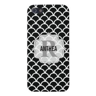 Caja blanca del monograma de Iphone 5 del negro mo iPhone 5 Carcasas