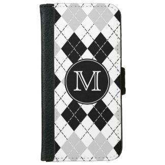 Caja blanca del monograma y gris negra del iPhone Funda Cartera Para iPhone 6