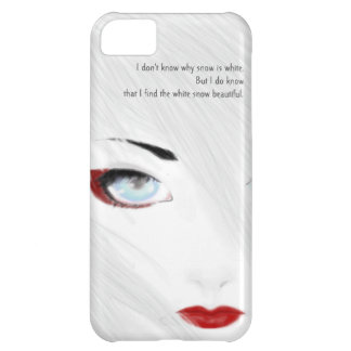 Caja blanca del teléfono del geisha de la nieve funda para iPhone 5C